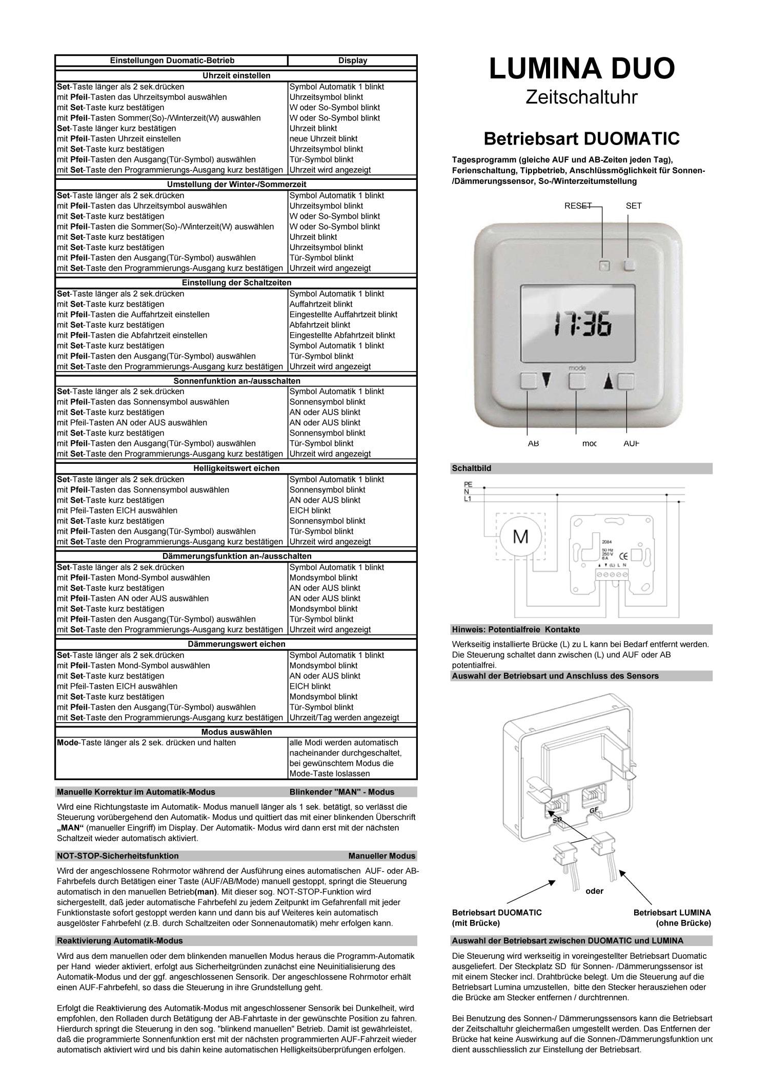 Schaltuhr Lumina Duomatic | RUFALEX Rollladen-Systeme AG