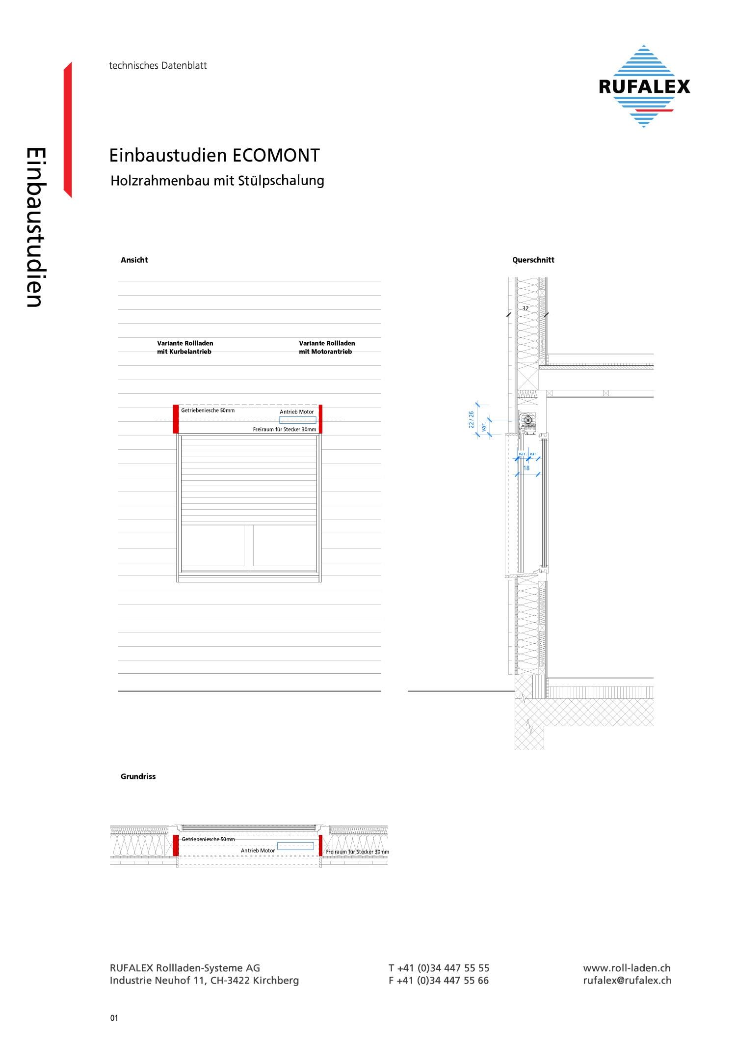 ECOMONT Holzrahmenbau mit Stülpschalung | RUFALEX Rollladen-Systeme AG