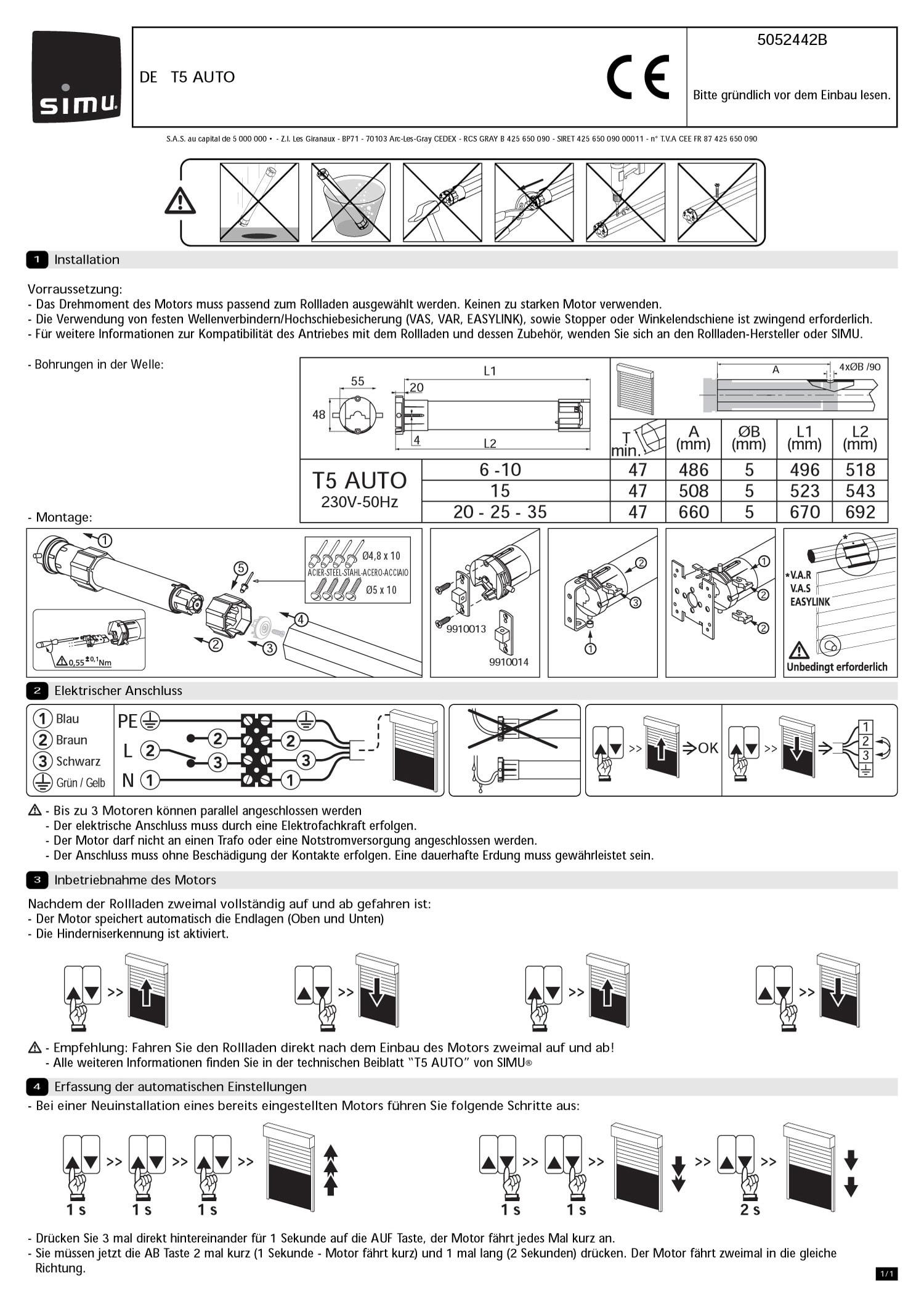 Großhandelspreis 2019 kostengünstig schönes Design Motor SIMU T5 Auto - RUFALEX Rollladen-Systeme AG